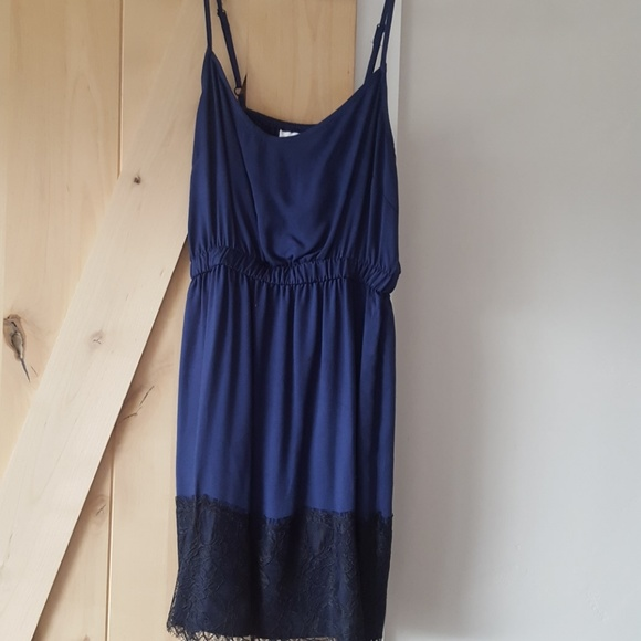 Bar III Navy Dress With Black Lace Detail